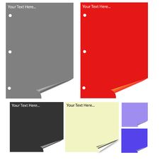 Free Different Colored Paper With Realistic Page Curl. Stock Photography - 6633402