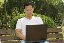 Man Using A Laptop In The Park Royalty Free Stock Images