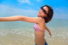 Free Woman Having Fun At The Beach Stock Images - 6633684