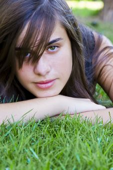 Young Woman On Grass Royalty Free Stock Photography