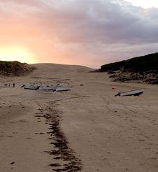 Sunset Over Beach In Spain Stock Photo