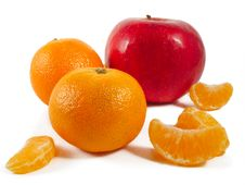 Apple And Mandarins. Royalty Free Stock Photo