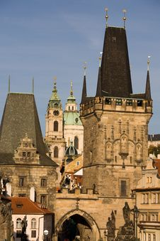 Free Prague Bridge Towers Stock Image - 6636221