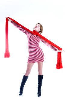 Free Beautiful Girl With Long Red Scarf Stock Photo - 6636660