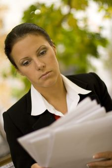 Free Attractive Businesswoman With Documents Stock Photos - 6637663