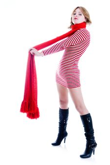 Free Young Girl With Long Red Scarf Royalty Free Stock Photos - 6638378