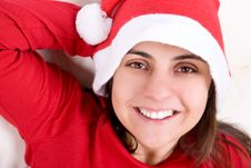 Woman With Red Christmas Hat Stock Photos