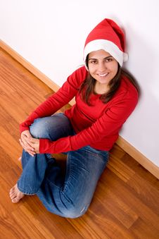 Free Woman With Red Christmas Hat Stock Photos - 6639023