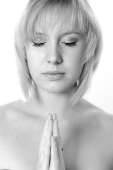 Free Angelic Young Woman Praying Stock Image - 6639381