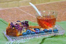 Blueberry Coffee Cake, Horizontal Stock Photography