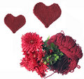 Free Cherry Skein With Chrysanthemums And Knitted Heart Stock Images - 6643674