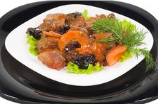 Free Meat Of The Rabbit On A Black And White Plates Stock Photography - 6640092