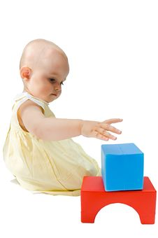 Free Little Baby Girl Playing With Her Toys Stock Photo - 6640340