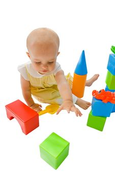 Free Little Baby Girl Playing With Her Toys Stock Photo - 6640350