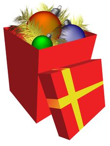 Free Gift Box With Decorations Royalty Free Stock Photos - 6642948