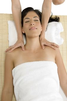 White Woman Receiving Massage Stock Photography