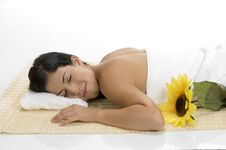 Free Female Sleeping On Mat With Sunflower Royalty Free Stock Photography - 6643557
