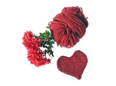 Free Cherry Skein With Chrysanthemums And Knitted Heart Stock Image - 6643621