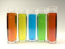 5 Glasses With Coloured Liquids Royalty Free Stock Image