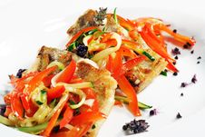 Free Grilled Fish With Julienne Vegetable Stock Photo - 6644060