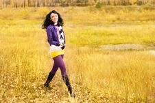 Pretty Girl Walking Alone In The Park Royalty Free Stock Photography