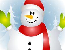 Free Close Up Snowman Xmas Card Stock Image - 6645751