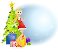 Free Cartoon Female Santa Helper Stock Photos - 6645763