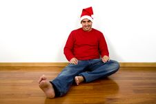 Free Man With Santa Claus Hat Stock Images - 6646724