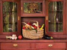 Free Vegetables On Old Cupboard. Stock Photo - 6646790