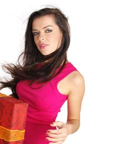 Free Girl Smiles And Holding A Gift Box Royalty Free Stock Images - 6647409