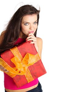 Free Girl Smiles And Holding A Gift Box Stock Photography - 6647462