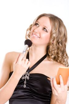 Free Beautiful Young Woman With A Make-up Brush. Royalty Free Stock Image - 6648726