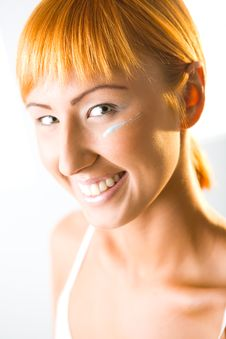 Free Happy Woman With Face Cream Stock Photography - 6649752