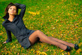 Free Pretty Young Girl In A Autumn Park Stock Photography - 6650902