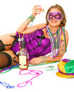 Free Mardi Gras Girl Holding Alcohol Royalty Free Stock Images - 6654099