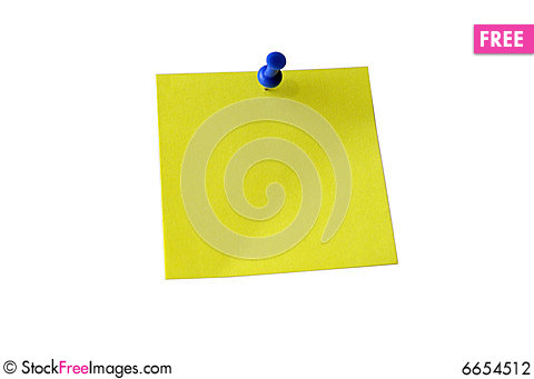 Free Yellow Sticky Note. Clipping Path. Stock Photography - 6654512