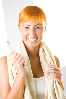 Free Young Woman With Toothbrush Stock Photo - 6650120