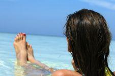 Free Girl Lying In Ocean Stock Photo - 6650230
