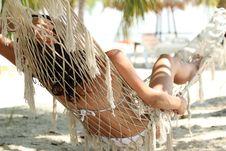 Woman Sleeping On Hammock Stock Images