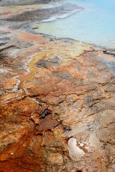Colorful Rock By Geyser Royalty Free Stock Photography