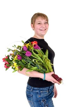 Free Happy Smiling Young Girl Presenting Flowers Stock Photos - 6652623