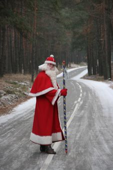 Free Santa Claus On Forest Road 8 Stock Photography - 6653672