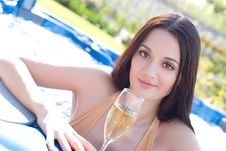 Free Beautiful Girl With Champagne Glass Stock Images - 6653874