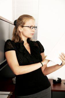 Elegant Business Woman Checking Paper Work Stock Photos