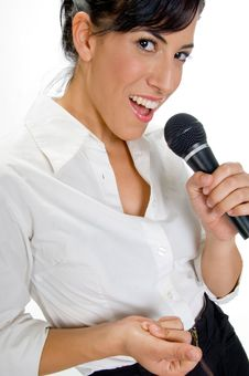 Free Female Singer With Microphone Royalty Free Stock Photos - 6654848