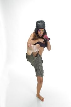 Free Female Fighter Kicking Royalty Free Stock Photos - 6654978