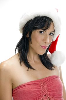 Free Gorgeous Woman With Santa Cap Stock Photos - 6655073