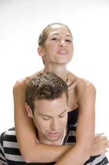 Young Man Giving Piggyback To Woman Royalty Free Stock Images