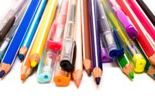 Color Pencils And Pens Royalty Free Stock Photo