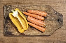 Yellow Bell Pepper And Carrots. Stock Images